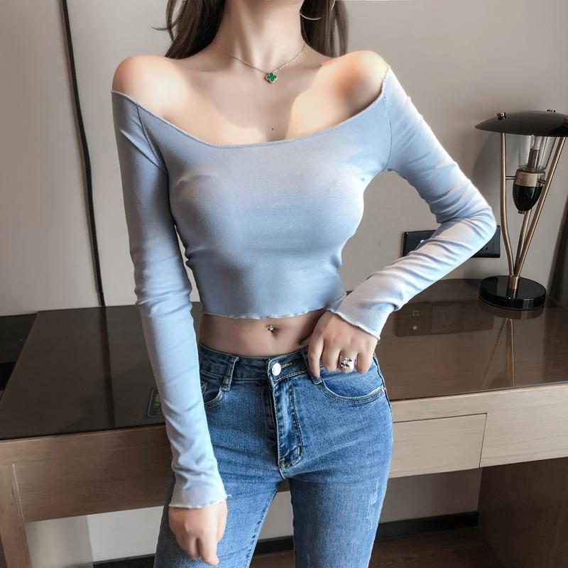 歐洲站速賣通ebay秋季上衣性感木耳邊長袖T恤短款一字領打底衫潮