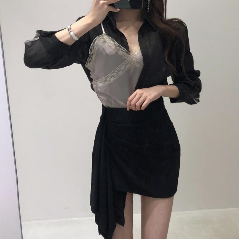 襯衫女設計感小眾韓范時尚雪紡薄襯衣2019長袖寬松吊帶兩件套上衣