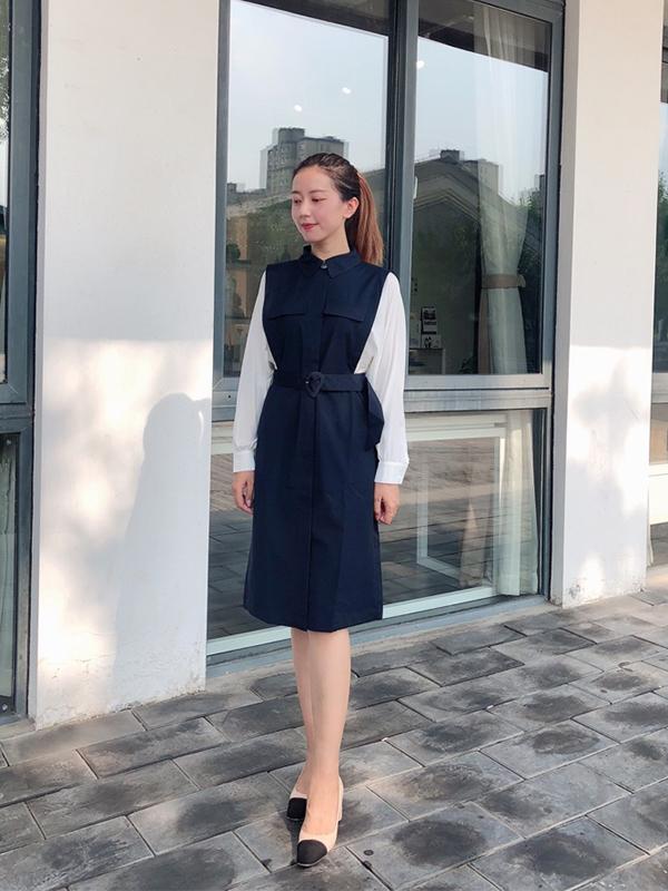 何穗同款伊芙麗裙子女2019新款秋高腰雪紡襯衫工裝風假兩件連衣裙
