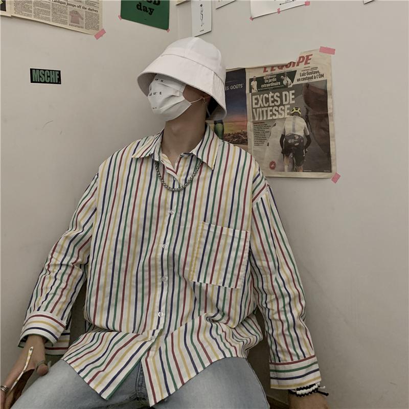 控价50彩虹织条纹衬衫男女款上衣休闲宽松显瘦翻领开胸外套