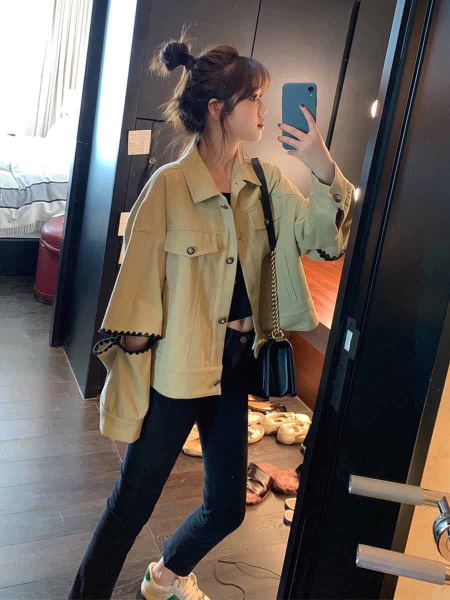AHY 工裝長袖外套女2019初秋新款韓版網紅寬松上衣時尚百搭外衣