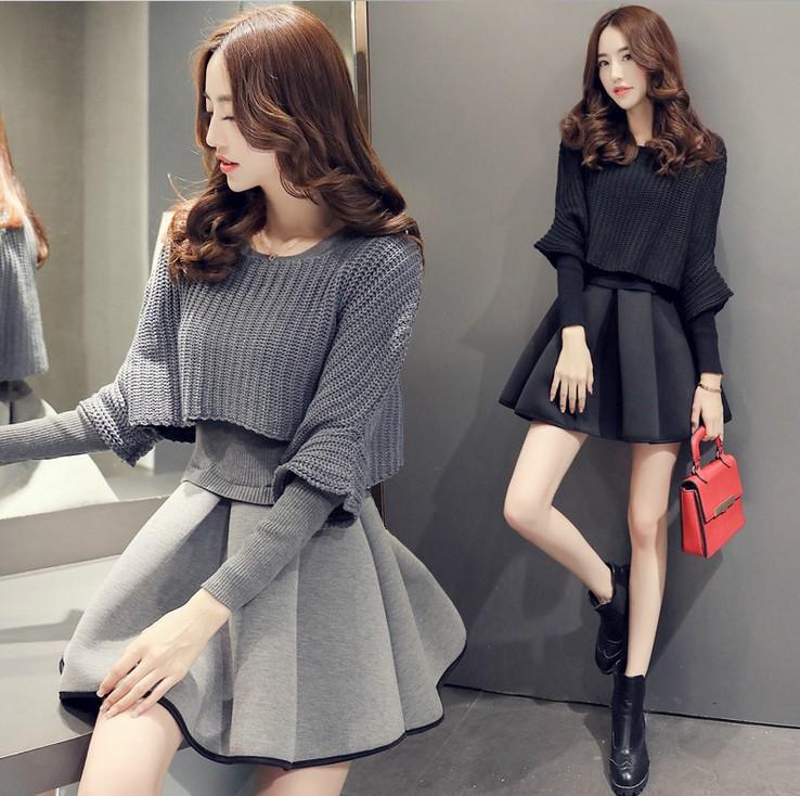大码2019春秋冬新款女韩版时尚套装蓬蓬裙两件套针织连衣裙洋气