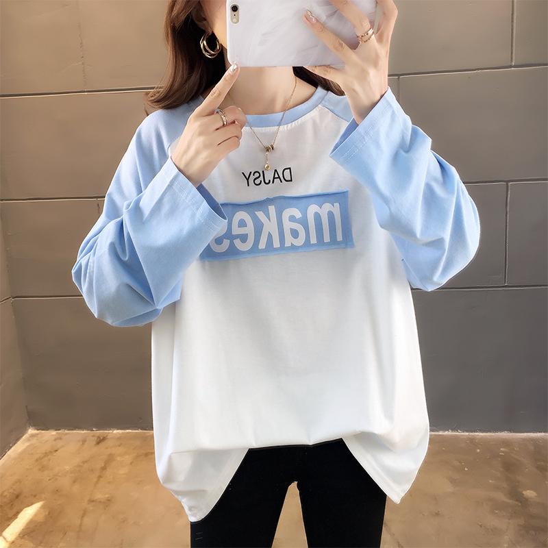 實拍不下架網紅同款韓版寬松套頭上衣學生韓版休閑長袖T恤打底衫