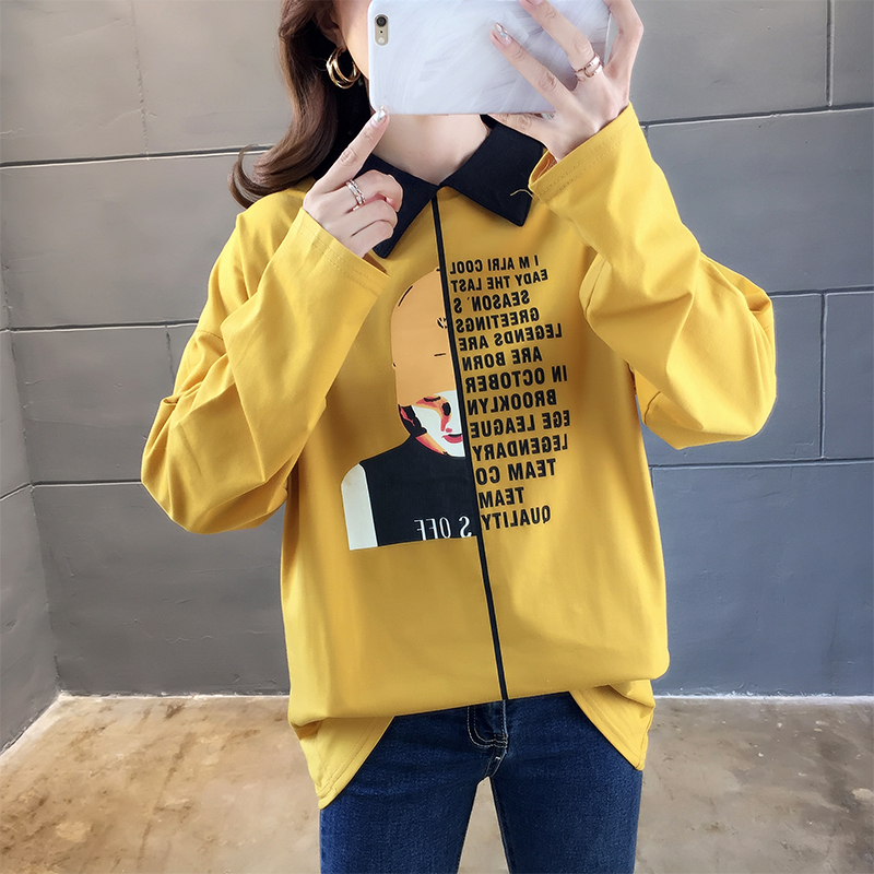 實拍不下架網紅同款韓版寬松套頭上衣學生韓版中長長袖T恤打底衫