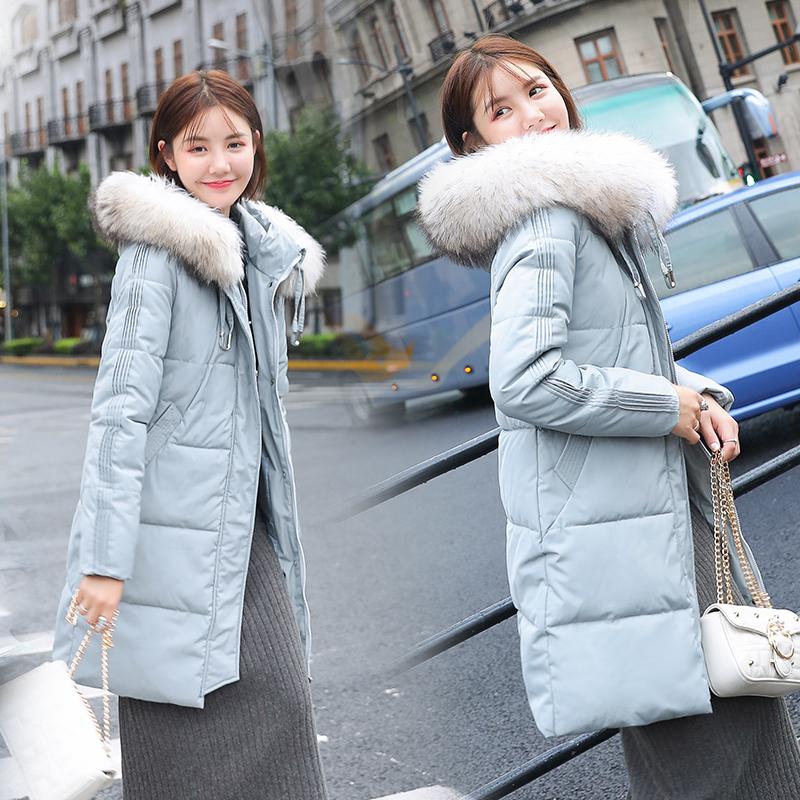 實拍2019新款韓版冬季羽絨服棉衣女修身中長款棉服外套學生棉襖