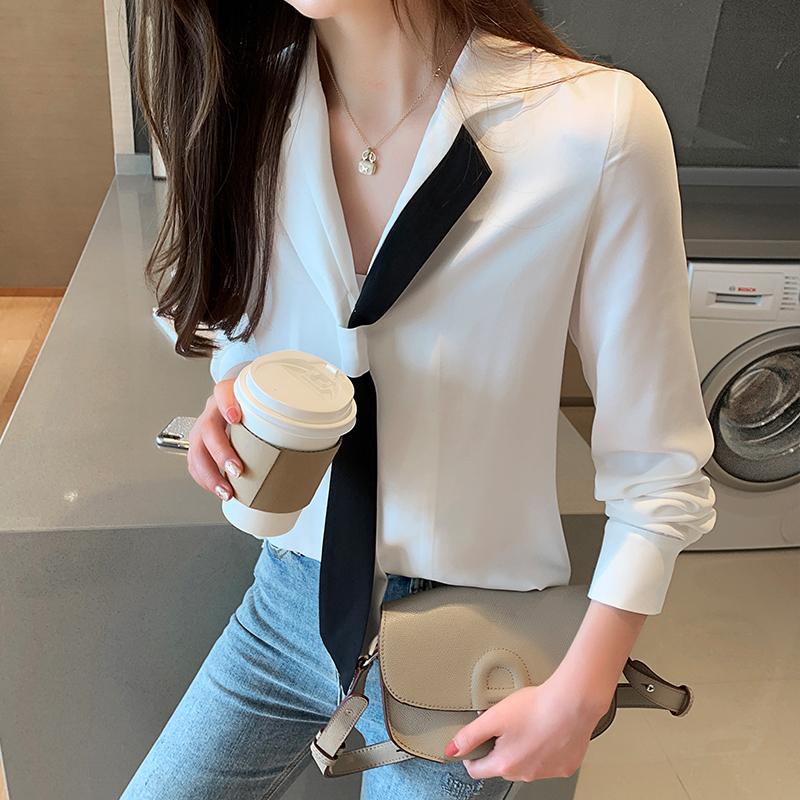 實拍~2019秋季新款韓版西裝領雪紡衫撞色領結打底衫女長袖