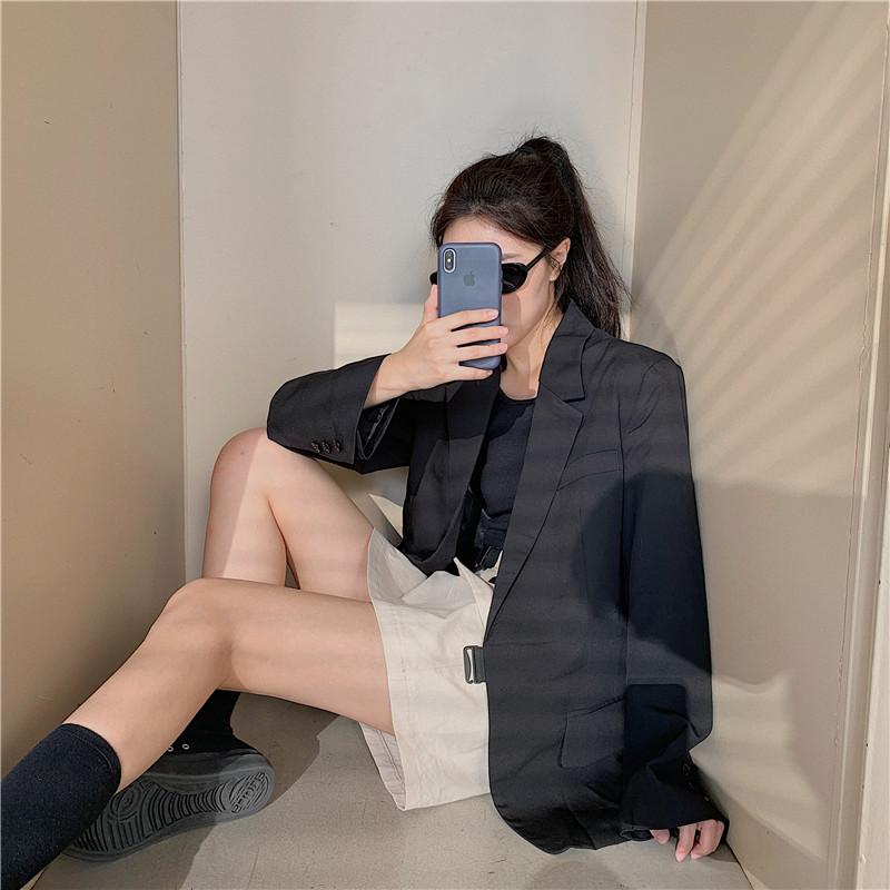 控价5 实拍实价 宽松韩版英伦风黑色休闲西装外套