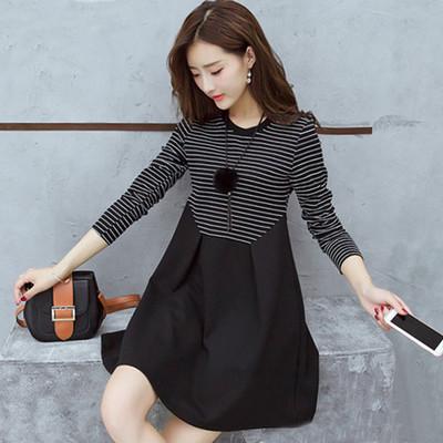 春新款韩版大码时尚女装黑白条纹中长款显瘦A字裙连衣