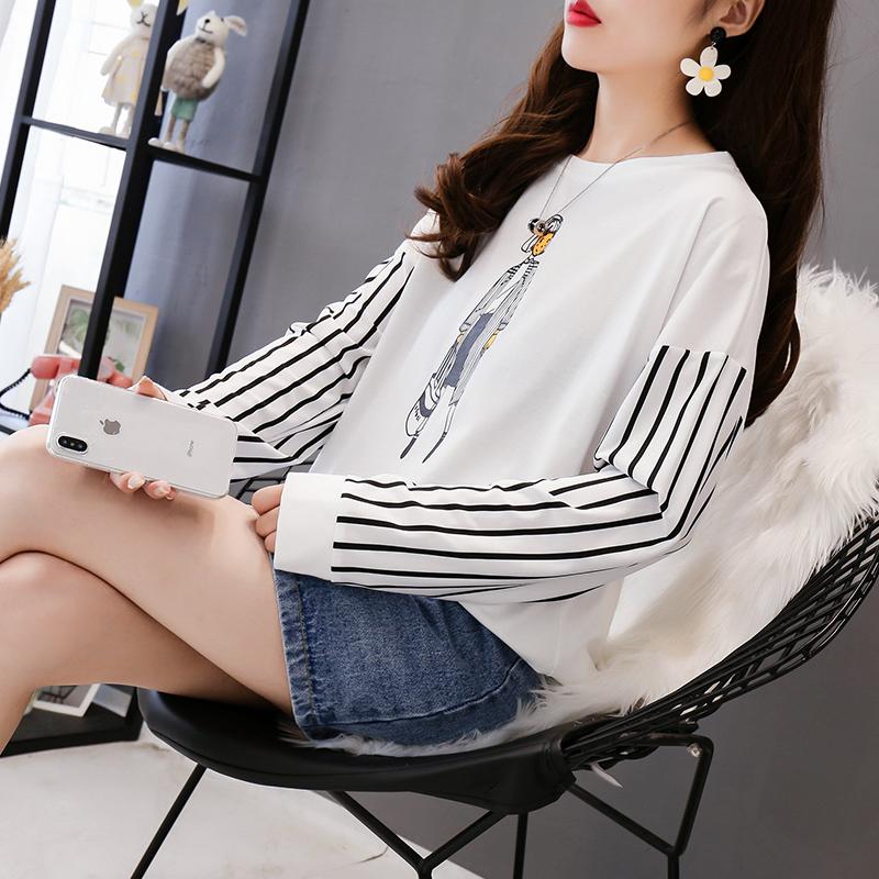 实拍不下架网红同款韩版宽松套头上衣学生韩版中长长袖T恤打底衫