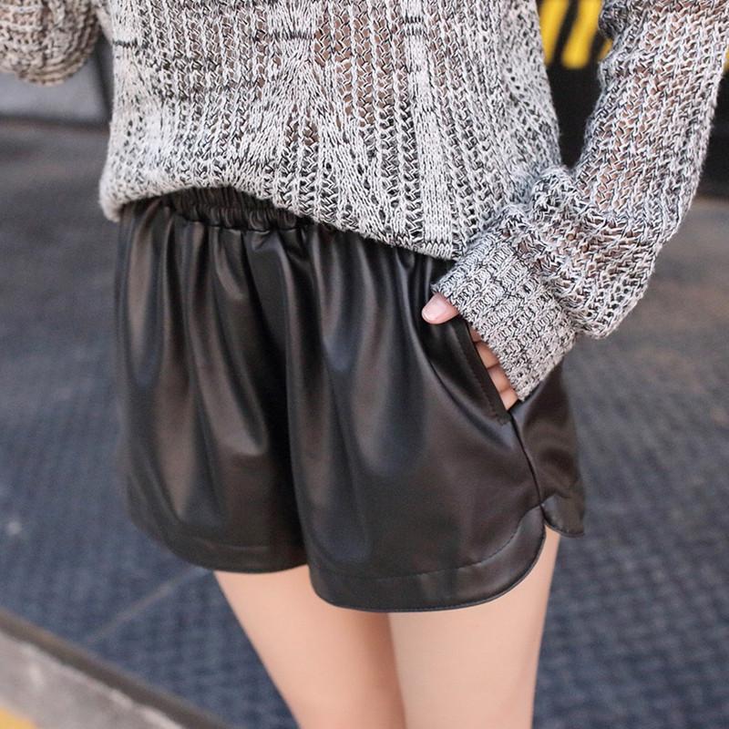 官图 PU皮裤女短裤高腰阔腿裤夏季宽松外穿大码修身显瘦靴裤热裤