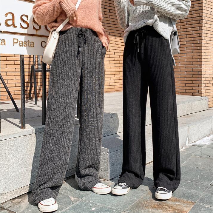 李婉君同款落地褲女闊腿褲加長高個子針織寬松直筒休閑褲秋冬