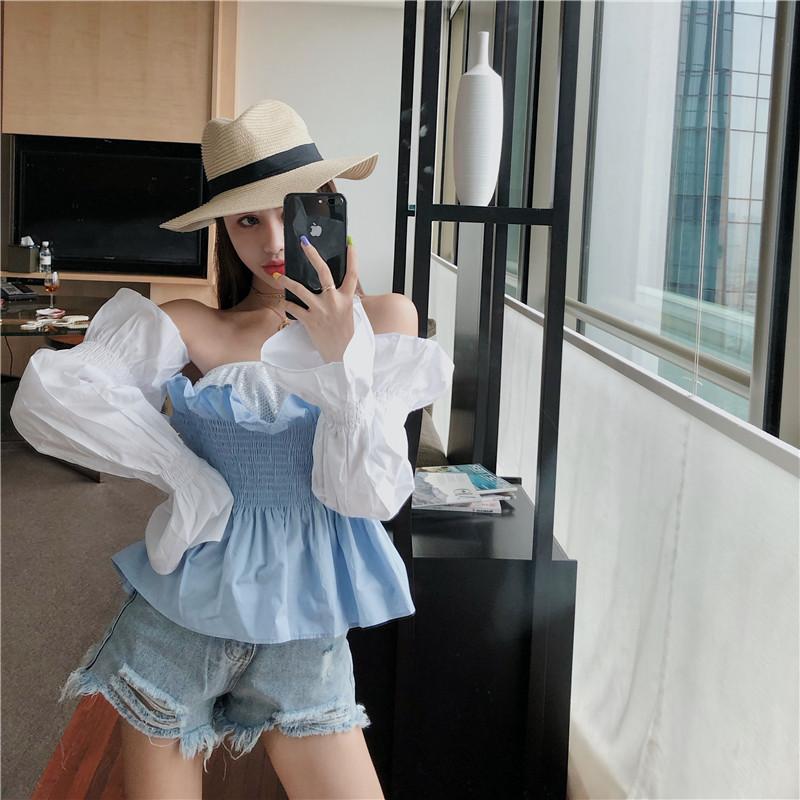 亚博娱乐平台入口实价韩版一字领松紧腰衬衣+可脱卸长袖两穿上衣
