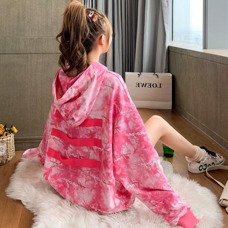 秋款卫衣女学生韩版宽松中长款印花上衣网红慵懒风连帽超长袖外套