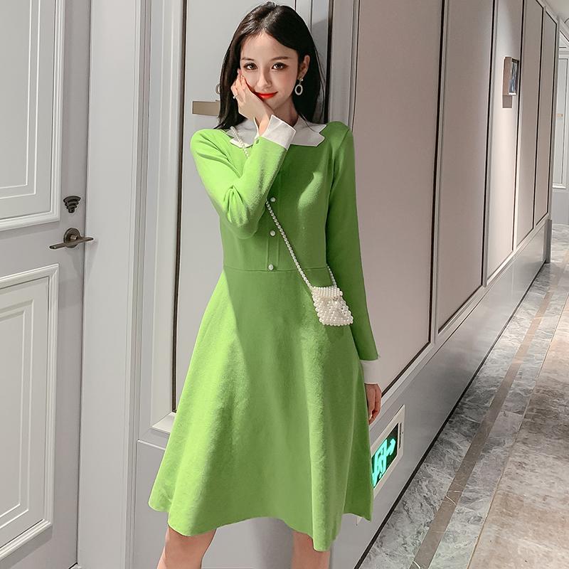 實拍秋裝韓版法式少女喇叭袖娃娃領牛油果綠長袖針織連衣裙