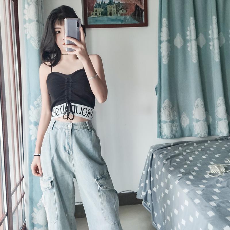 亚博娱乐平台入口吊带女外穿2019新款港味内搭气质短款上衣夏chic抽绳字母背心