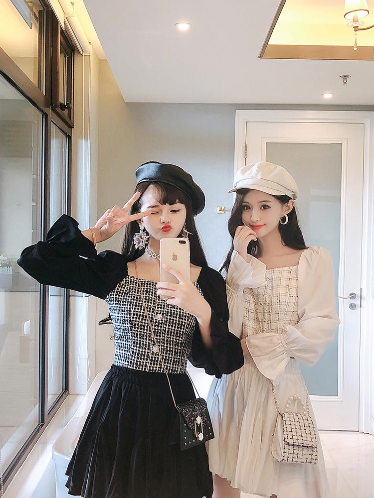 小個子顯高穿搭2019早秋新款單排珍珠扣上衣百褶裙套裝兩件套女