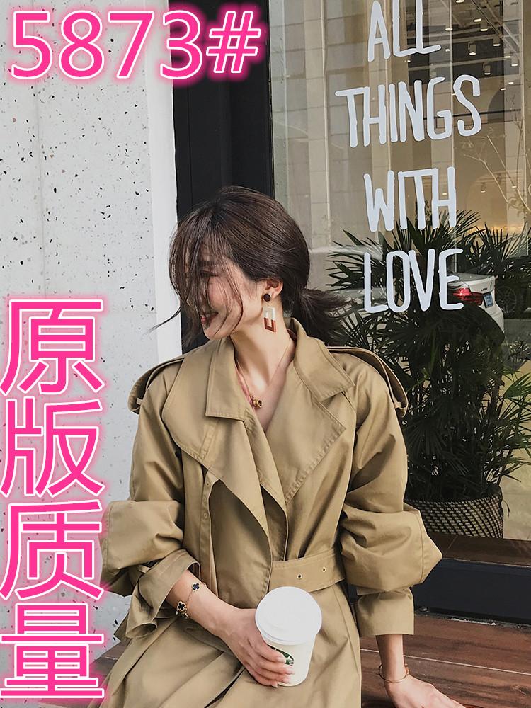 工装风衣中长款外套2019初秋西装领上衣卡其色气质小个子重磅大衣