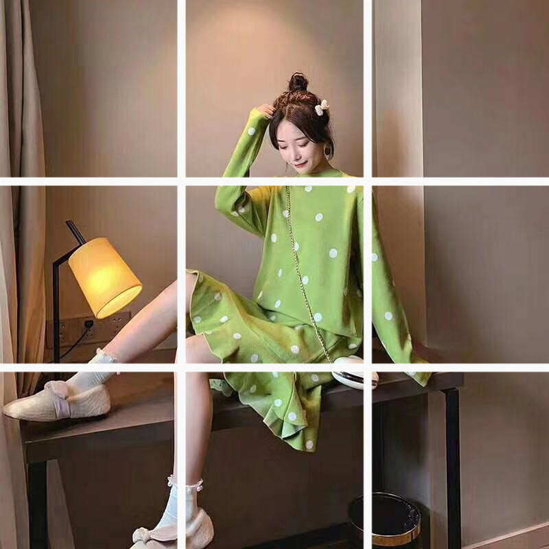 女洋氣秋裝秋冬寬松款高領韓版上衣波點連衣裙中長款過膝