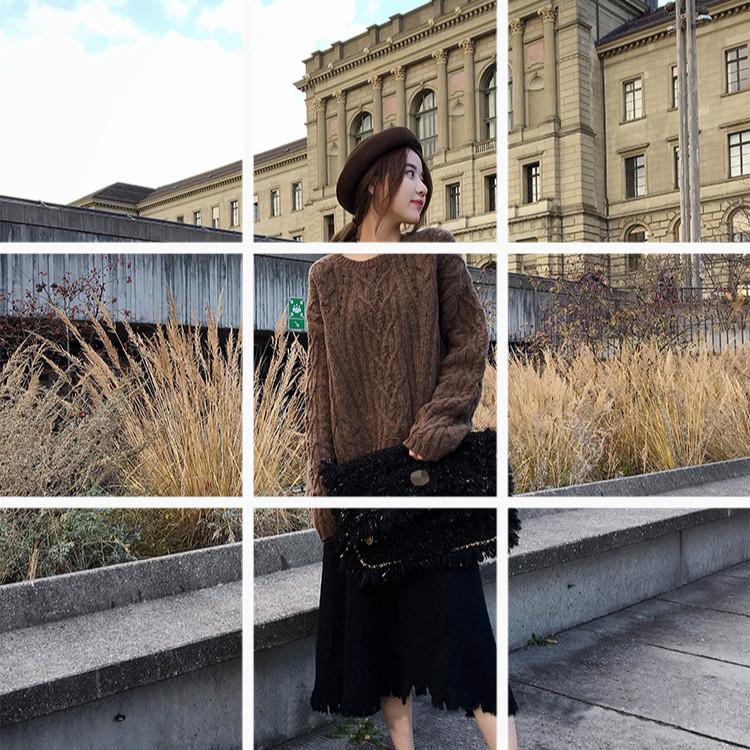 秋冬新款針織半身裙女學生韓版中長仙女裙大碼冬裙A字裙