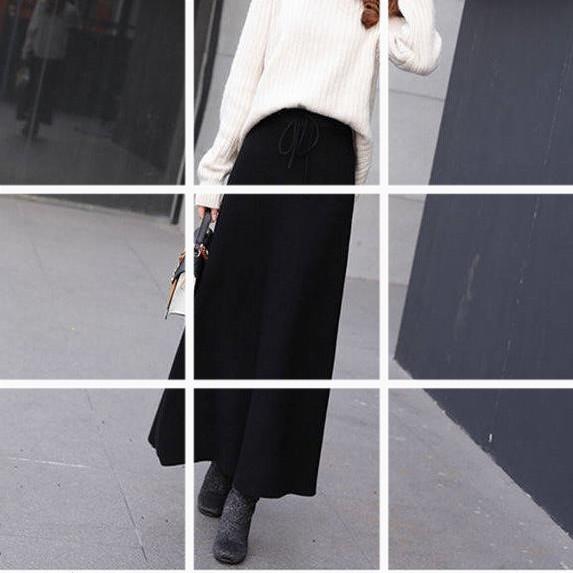 秋冬保暖長款A字裙針織半身裙冬季長裙防風毛線裙