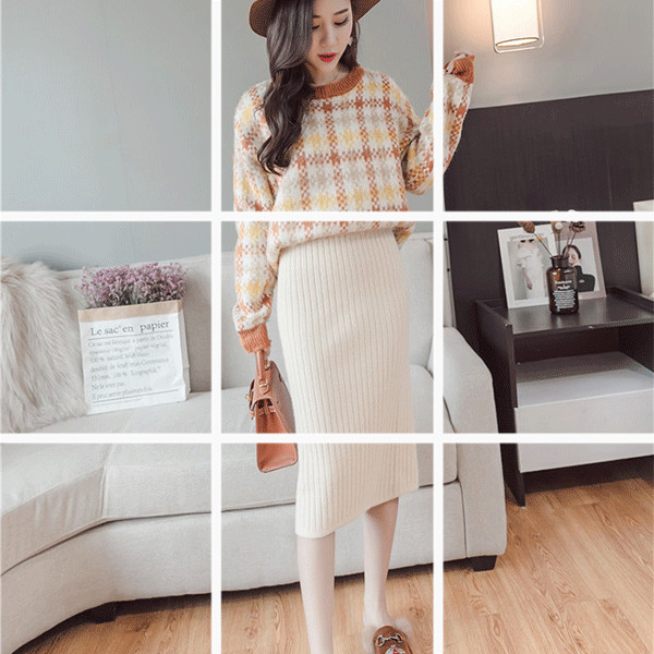 2019秋新款韓版包芯紗針織包臀半身裙中長款高腰開叉包裙女