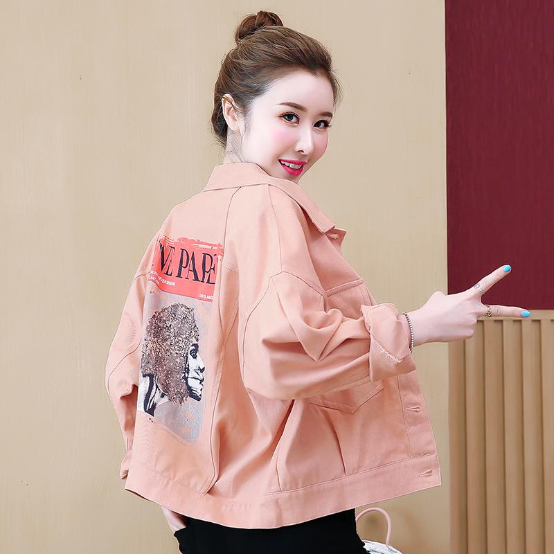 實拍 2019秋糖果色新款牛仔外套時尚印花韓版大口袋寬松上衣夾克