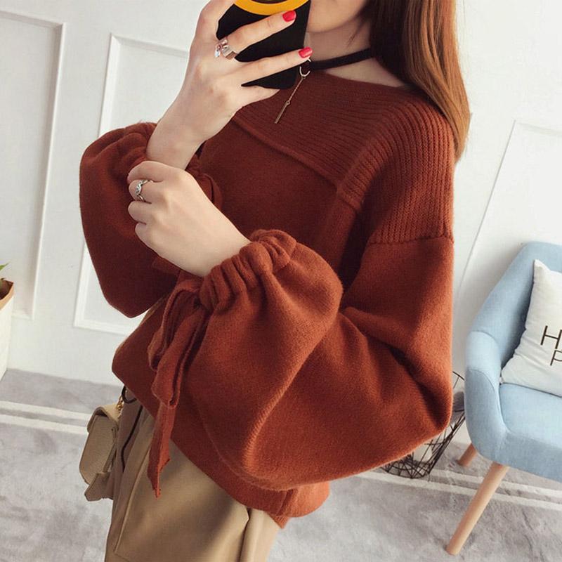 大码女装笼袖毛衣女宽松套头短款新款时尚潮韩版学生针织衫长袖线