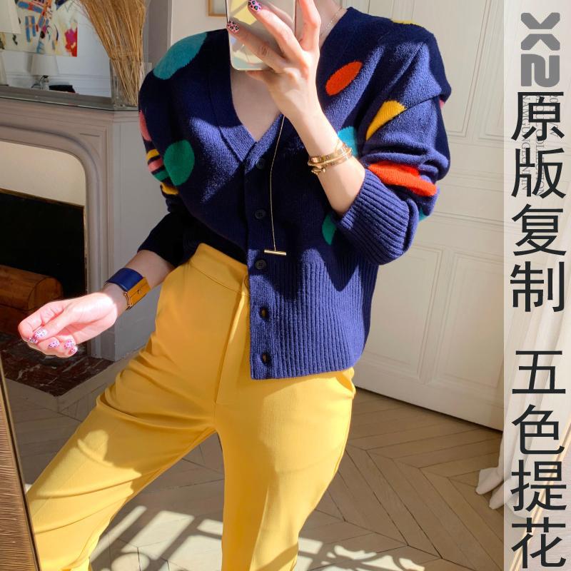 韓國官網X2爆款 俏皮彩色波點V領系扣短款針織開衫外套毛衣女 3色