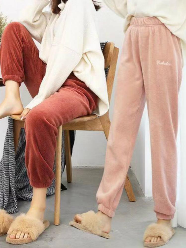 2019暖暖褲珊瑚絨居家保暖褲秋冬季珊瑚絨懶懶褲收口打底褲女外穿