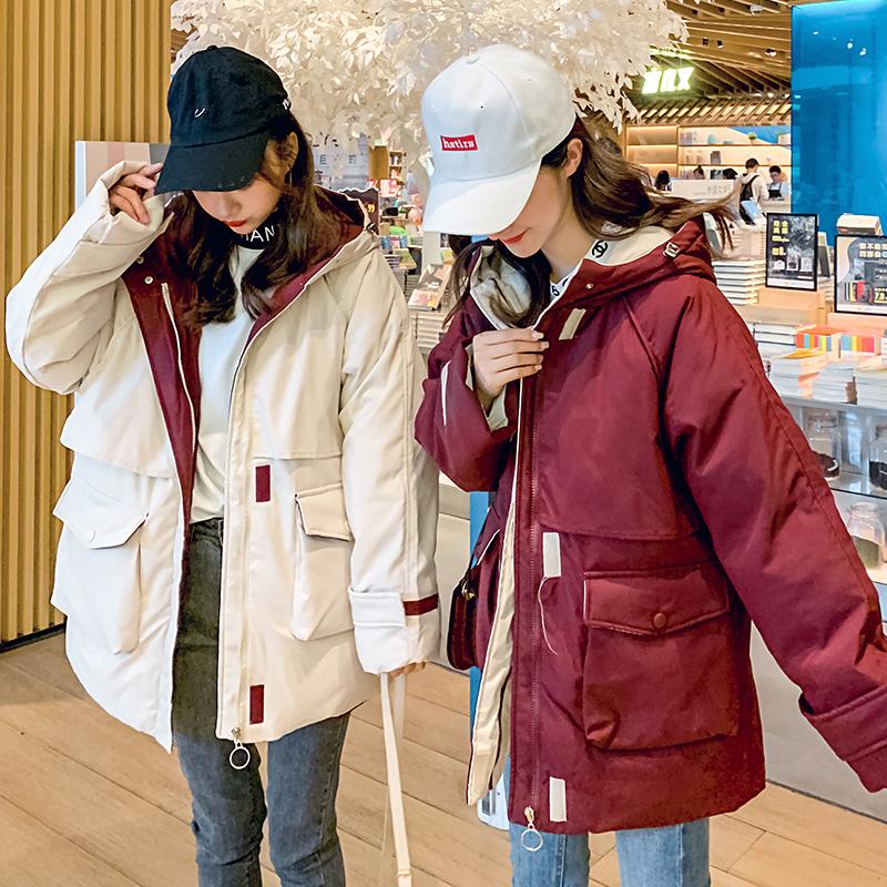 实拍19冬新款网红休闲chic羽绒服女韩版ins工装棉服外套连帽棉衣