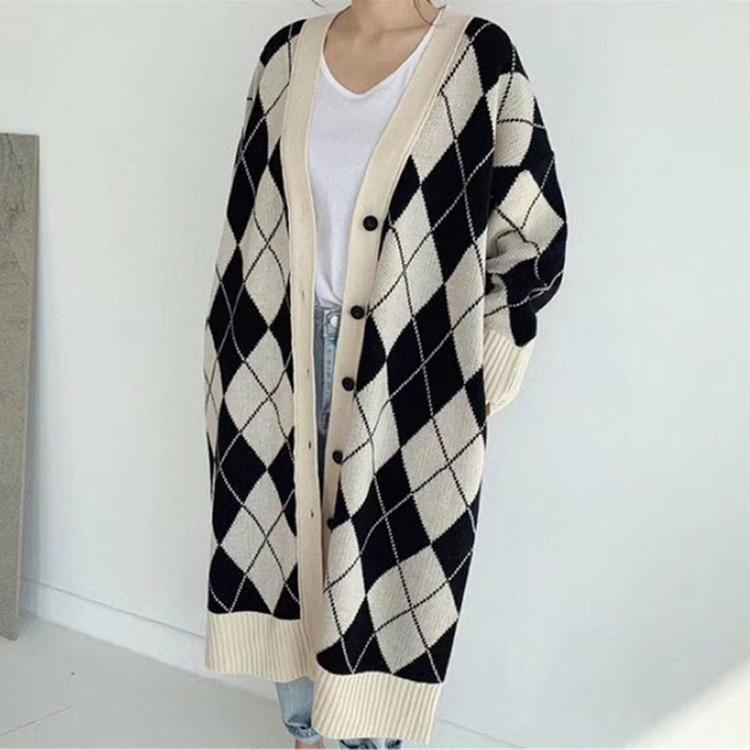 現貨秋冬新款女裝 含羊絨手感柔軟 韓國中長款披肩針織開衫外套女