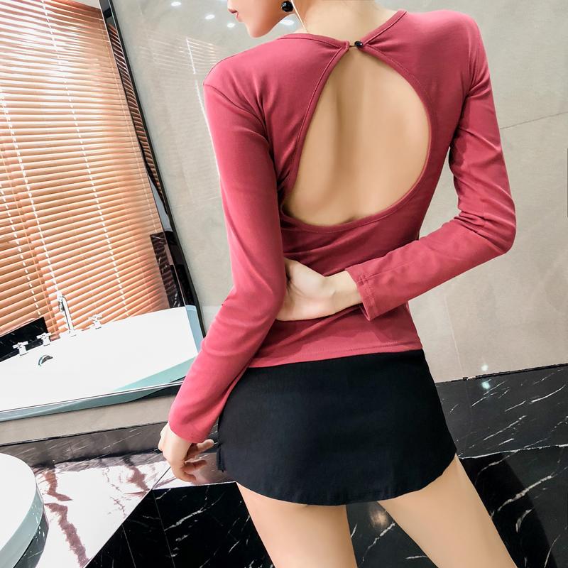 2019秋裝露背上衣女韓版修身性感鏤空長袖t恤夜店個性顯瘦衣服