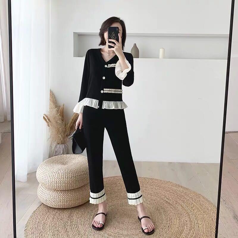 MUKOK時尚套裝女2019新款初秋季春針織洋氣撞色九分褲氣質兩件套