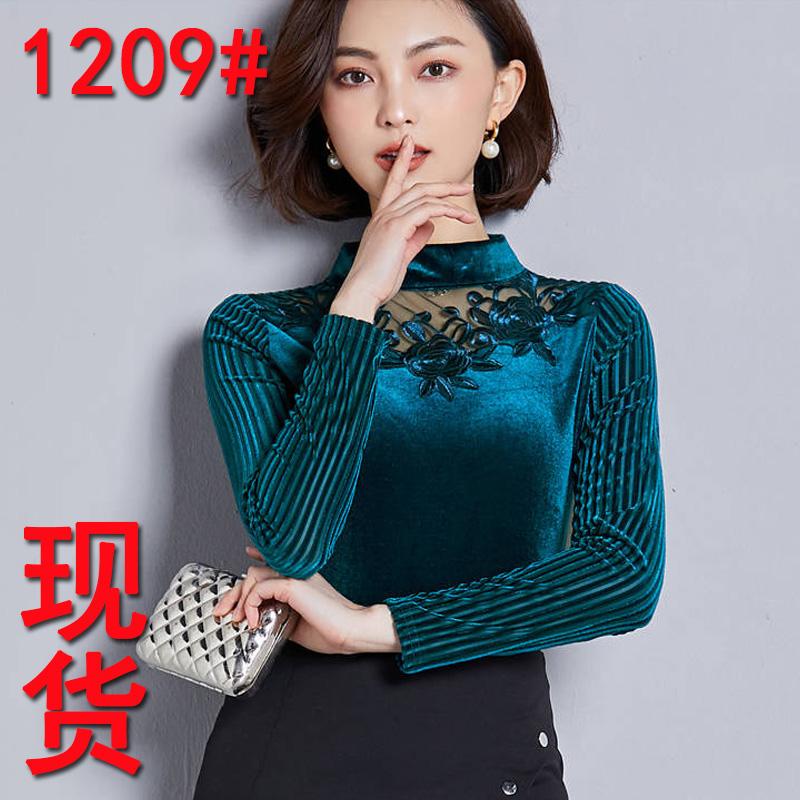 2019金丝绒女装新款半高领镂空拼接打底衫女装黑色收腰长袖百搭