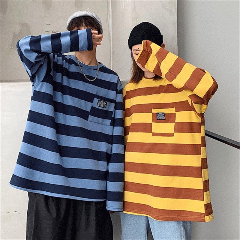 2019新款潮藍黑條紋t恤女長袖寬松春秋季情侶裝版ins超火網紅上衣