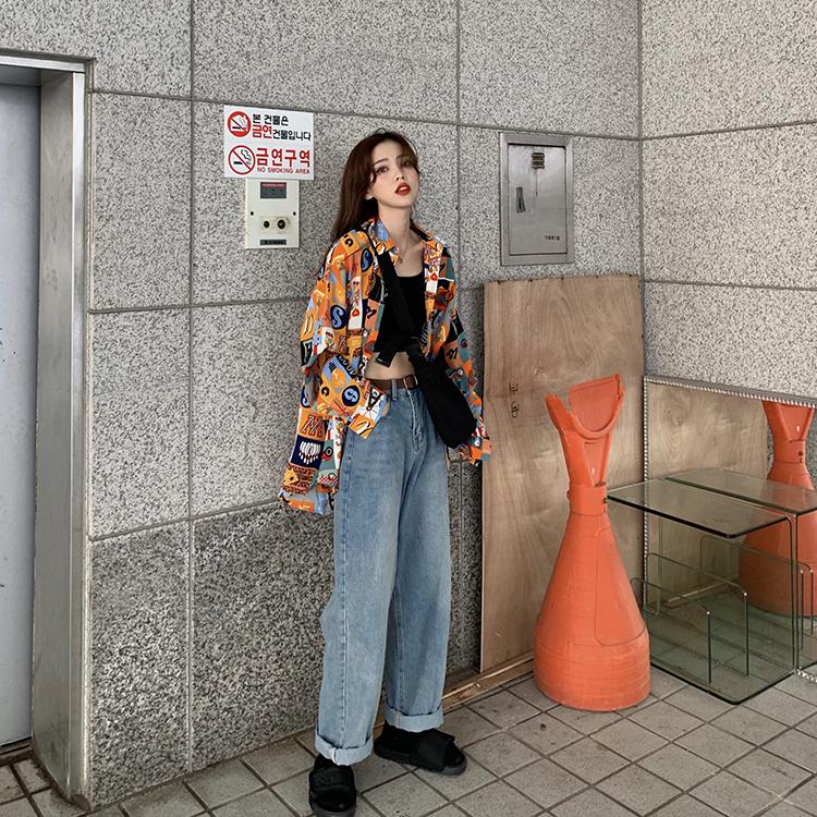 實拍實價復古酷帥撞色圖案秋季寬松薄款襯衫港風防曬襯衣女