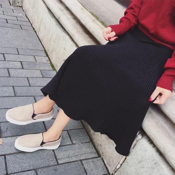 大碼女裝胖mm秋冬裝新款2019修身顯瘦針織裙胖妹妹包臀半身裙