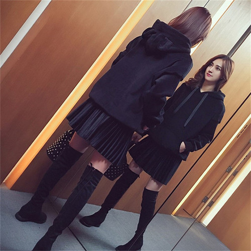 胖mm秋冬裝2019新品大碼女裝套裝胖妹妹修身顯瘦衛衣半身裙兩件套