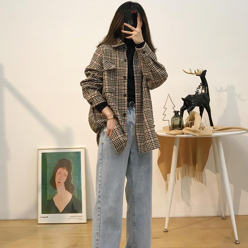 初秋季女裝2019新款韓版寬松格子襯衫百搭外套輕熟長袖春秋上衣