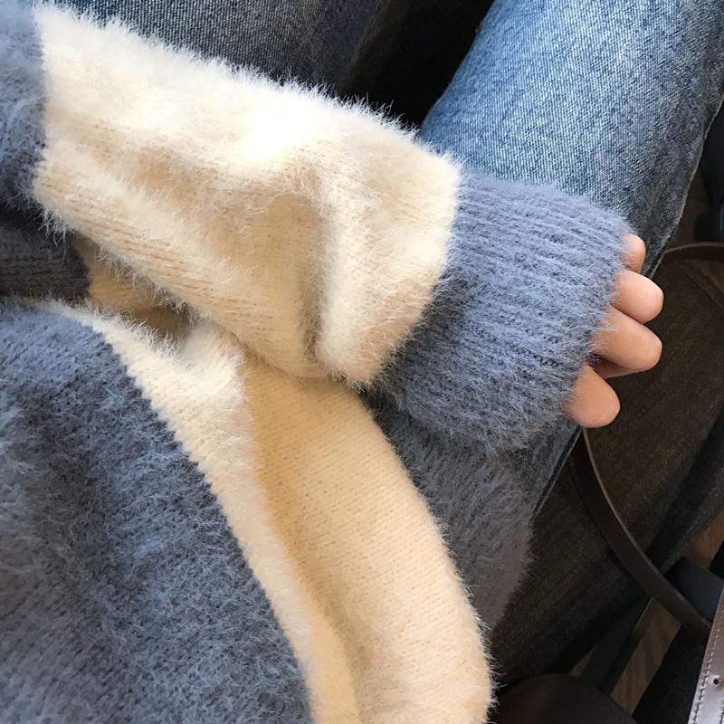 2019秋冬新款韓版高領慵懶風寬松網紅小清新甜美套頭海馬毛毛衣女