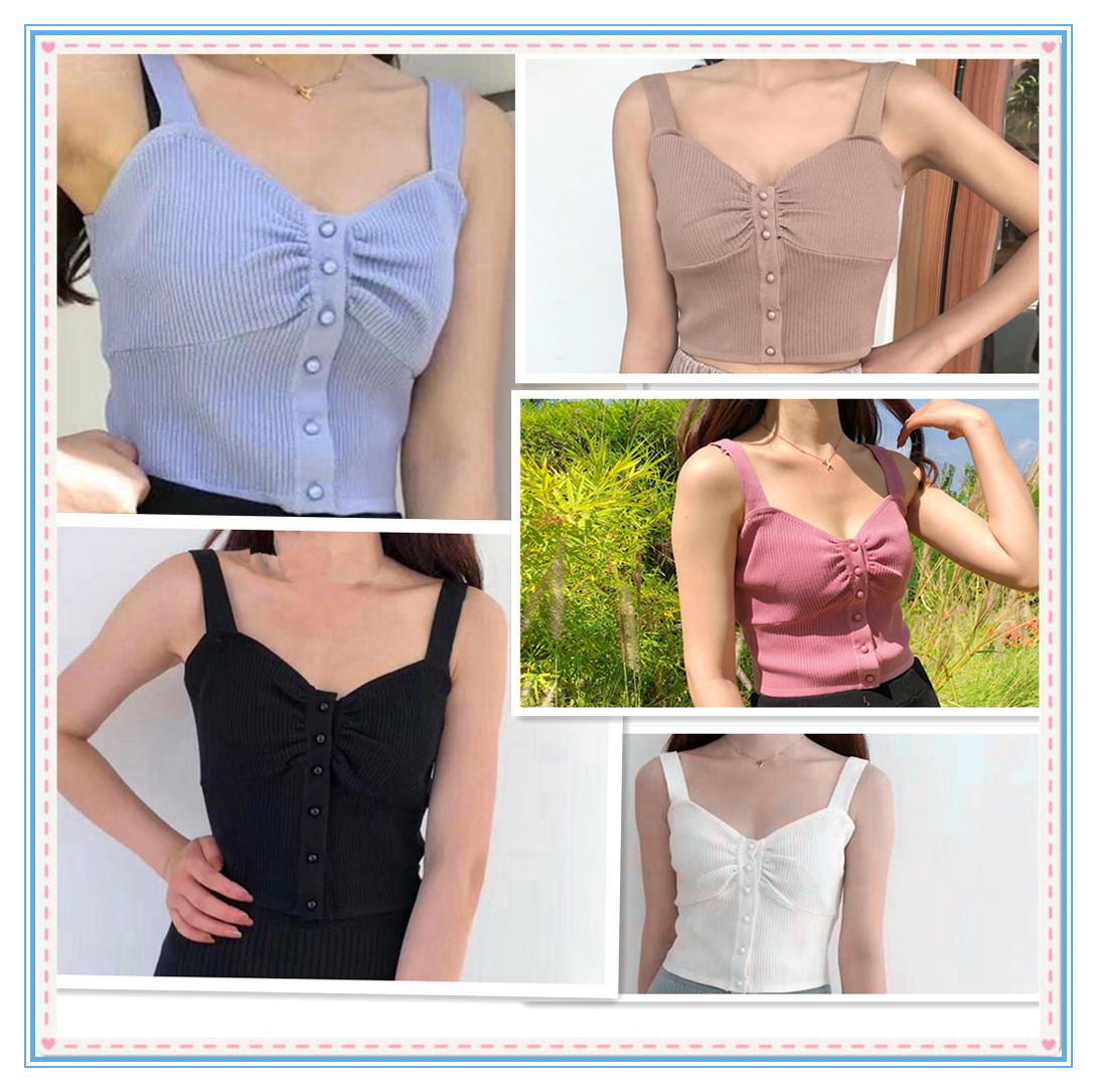夏季新款韩版时尚百搭修身显瘦性感外穿纯色针织吊带背心
