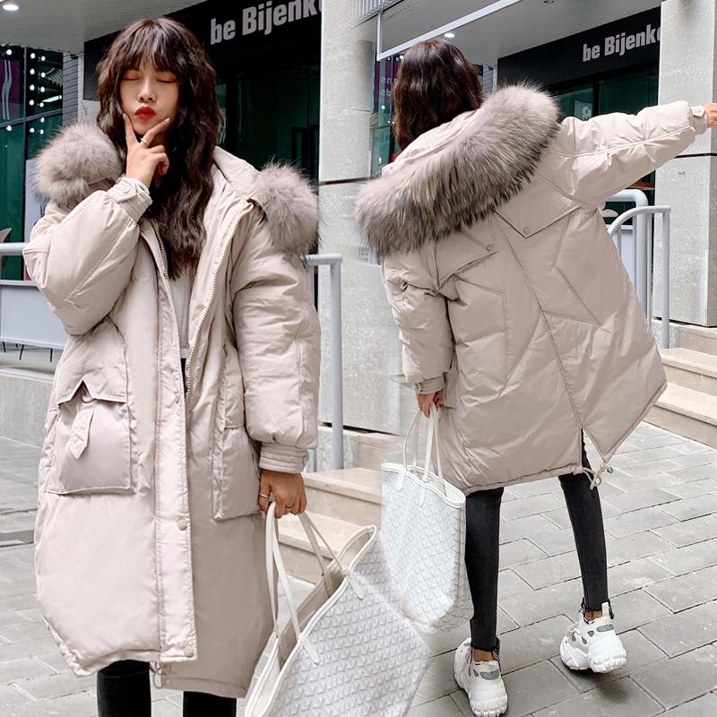 实拍2019冬季韩版羽绒服女长款过膝大码宽松胖MM大毛领棉衣外套