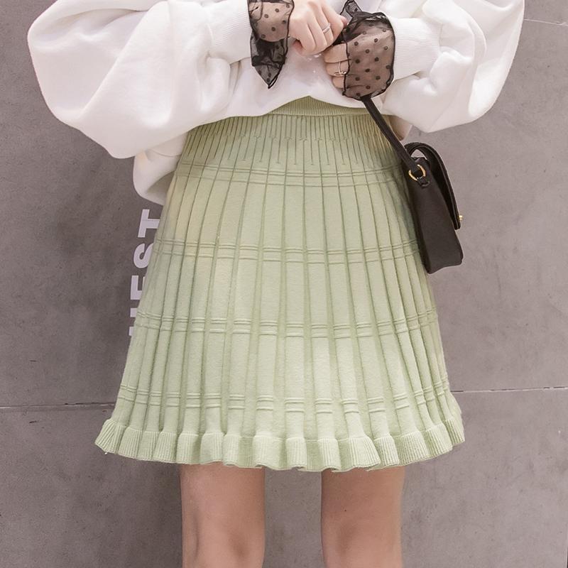 針織半身裙女秋冬2019新款百褶短裙一步毛線裙高腰顯瘦打底a字裙