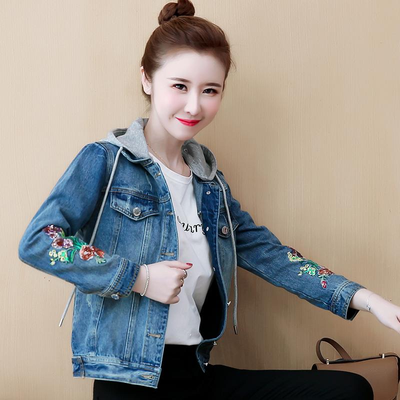 實拍 小香風牛仔外套女2019秋季韓版顯瘦短款連帽繡花牛仔短外套