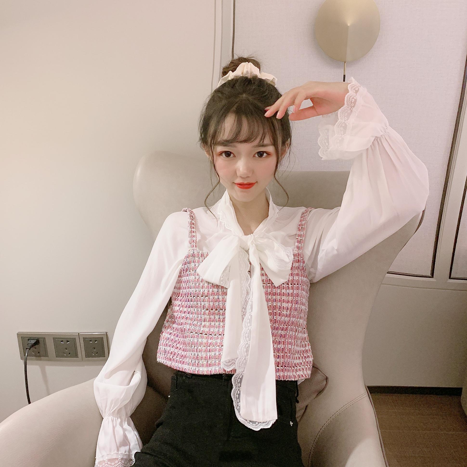實拍實價控5韓版氣質小香風馬甲顯瘦雪紡衫兩件套女減齡時尚套裝