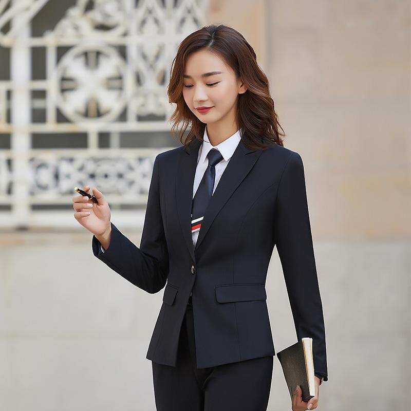 實拍2019秋冬男女職業裝同款西裝套裝氣質工裝商務正裝西服