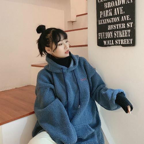 實拍秋冬韓版字母寬松學生顆粒絨羊羔毛外套假兩件拼接高領衛衣女