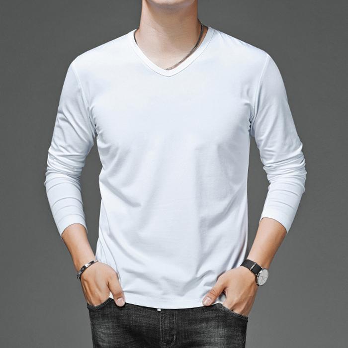 KTY10135#长袖t恤男士V领韩版修身纯白黑色打底衫男秋季薄款上衣潮流