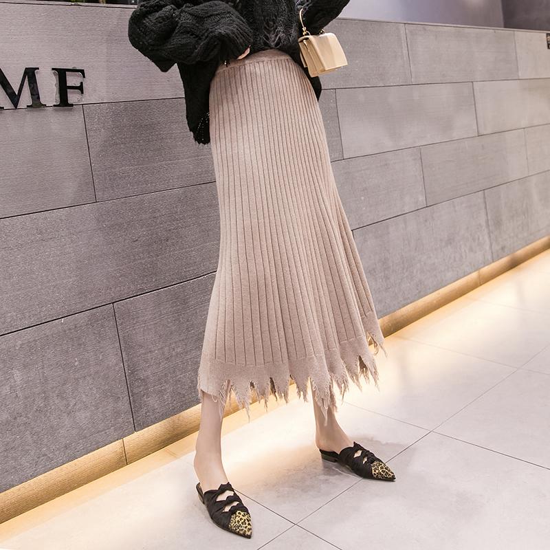 裙子女秋冬2019新款 韓版高腰毛邊不規則針織裙中長款半身裙冬裙