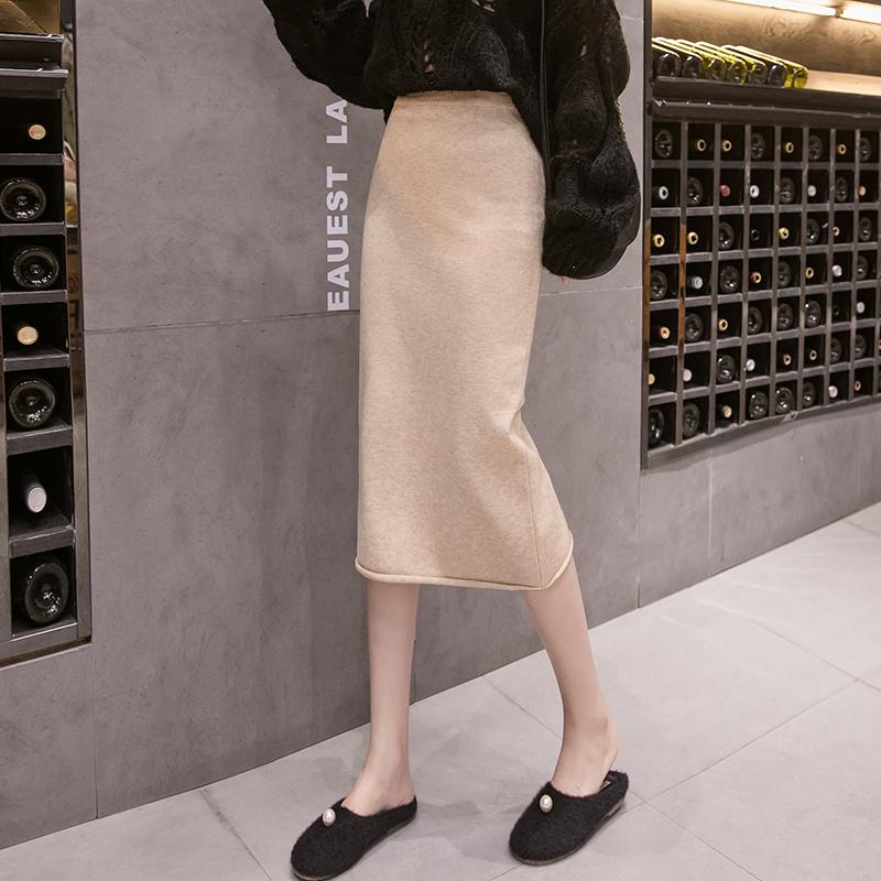針織半身裙女秋冬2019新款一步裙包臀性感顯瘦高腰中長款毛線裙子